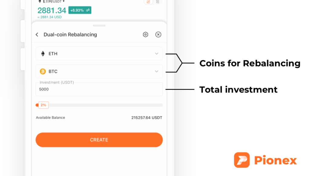 Input the parameters for the crypto rebalancing bot
